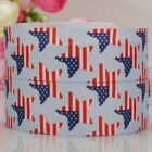 "10 yards 7/8""22mm star with flag printed grosgrain ribbon USA Independent day"