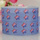 "7/8""22mm blue jeans star pattern printed grosgrain ribbon USA Independent day"