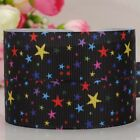 "1""25mm black bling stars pattern printed grosgrain ribbon USA Independent day"