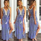 New Women Blue Stripe Split Sleeveless Dress Lace Patchwork Beach Party Sundress