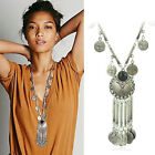 Women Bohemian Gypsy Boho Silver Coin Long Chain Tassel Pendant Necklace LA