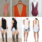 Chic Summer Women Casual Backless Sleeveless V-neck Blouse Shirt T-shirt Top S-L