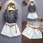 3PCS Toddler Kids Baby Girls Summer Outfit Clothes T-shirt Tops+Shorts Pants Set
