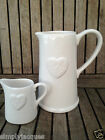 Shabby Chic Style White Ceramic Embossed Heart Jugs, 2 sizes Gisela Graham