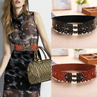 Womens Dress Waist Belts Flower-Shaped Cut-Outs Alloy Buckle Stretchy Waistbands