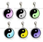 Colorful Yin & Yang Glass Top Clip On Charm Add A Splash of Fun to Your Bracelet