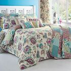 Marinelli Traditional Design Quilt Cover & Pillow Cases Floral Patchwork Teal