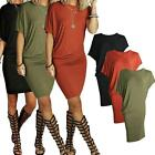 Round Neck Women Summer Short Sleeve Evening Party Cocktail Short Mini Dress UK