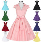SEXY WOMEN VINTAGE 40S 50S 60S PINUP EVENING PARTY SWING PLEATED DRESS PLUS SIZE