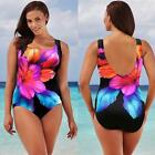 Lady Plus Size Bikini Set One-piece Floral Printed Swimsuit Beach Swimsuit UK