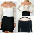 Sexy Women Off Shoulder Long Sleeve Lace Floral Strapless Shirt Blouse Top LJ