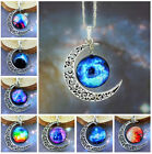Cabochon Galactic Magic Crescent Moon Star Time Pendant Chain Necklace Jewelry