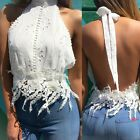 Sexy Open Backless Halter Crocheted Lace Cropped Tank Top Blouse Club Summer Tee