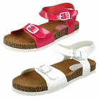 GIRLS SPOT ON OPEN TOE ADJUSTABLE BUCKLE FASTENING FLAT MULE SANDALS H1068
