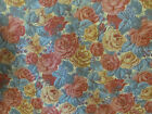 VINTAGE SHOWERPROOF UPHOLSTERY FABRIC RUST/MUSTARD/DUCK EGG SOFT TOUCH 140CM W