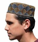 Black Metallic Silver & Gold Thread Embroidered Semi-rigid African Kufi Hat Cap