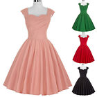 RED Womens Vintage Style 50's Retro Solid Evening Party Swing Dresses