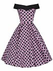 RETRO VINTAGE 50's PINK BLACK DOT OFF SHOULDER PINUP ROCKABILLY DRESS NEW 8 - 18