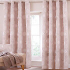 Modern Leaves Leaf Cotton Rich Eyelet Ring Top Lined Curtains, Natural Beige