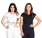 Thermals 2 Pack Ladies Cotton Thermal Short Sleeve Tops Black White Size 8-22