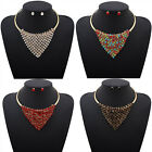 Popular Women Triangle Jewelry Charm Crystal Rhinestone Necklace Earrings Set