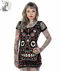 BANNED CANDY SUGAR SKULL tunic T-SHIRT goth TOP BLACK