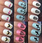 NAIL ART STICKERS WATER TRANSFER DECALS WRAPS HEART PUG ANCHOR KITTEN OWLS CAMEL