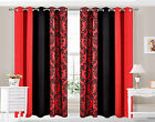 Eyelet Ring top Curtains Damask 3 Tone fully lined Red