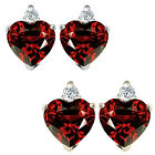 0.01 Carat Diamond Heart Garnet Birth Gemstone Earrings 14K White/Yellow Gold