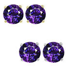 6mm Round CZ Amethyst Birthstone Gemstone Stud Earrings 14K White Yellow Gold