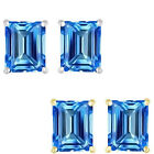 6mm Octogon CZ Blue Topaz Birthstone Gemstone Stud Earring 14K White Yellow Gold