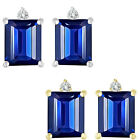0.01 Ct TCW Diamond Octogon Sapphire Gemstone Earrings 14K White Yellow Gold