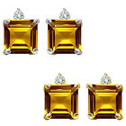 0.01 Carat TCW Diamond Princess Citrine Gemstone Earring 14K White Yellow Gold