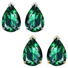 8x5mm Pear CZ Emerald Birthstone Gemstone Stud Earrings 14K White Yellow Gold