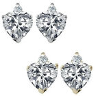 0.01 Carat Diamond Heart Gemstone Birthstone Stud Earrings 14KWhite Yellow Gold