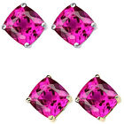 6mm Cushion CZ Pink Topaz Birthstone Gemstone Stud Earring 14K White Yellow Gold