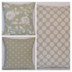 Clarke and Clarke Mix Match Sage Green  White Meadow Daisy Dotty Cushion Cover