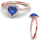 8MM Sapphire Birth Gem Stone Halo Solitaire Heart Love Ring 14K Rose Gold
