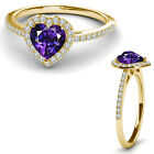 8MM Amethyst Birth Gem Stone Halo Solitaire Heart Love Ring 14K Yellow Gold
