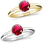 1 Carat Diamond Ruby Birth Gem Stone Solitaire 14K White/Yellow Gold Bridal Ring