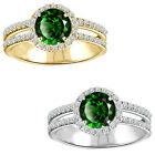 1.75 Carat Diamond Emerald GemStone Halo 14K White/Yellow Gold Engagement Ring