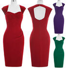 Women's Vintage Style 1940s 1950s Bodycon Evening Party Wiggle Pencil Midi Dress