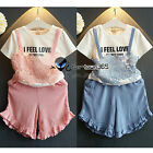 Summer Baby Child Kids Girl Lace I Feel Love T-shirt+Trousers Party Sets 2-7Y