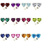 7mm Heart CZ Select Birth Gemstone Stud Earring Silver 14k Gold Plated-YG