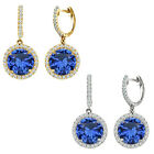 Sapphire Birthstone Hoop Huggies Halo Solitaire Round Silver Dangling Earrings