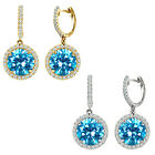 Blue Topaz Birthstone Hoop Huggies Halo Solitaire Round Silver Dangling Earrings