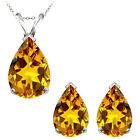 8x5mm Pear CZ Citrine Birthstone Pendant Earring Set 14K White Yellow Gold