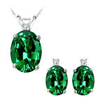 Emerald Oval Birth Gem Stone Set Pendant Earring 14K White Yellow Gold Diamond