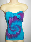 LADIES TIE DYE DYED BLUE & PURPLE BOOBTUBE WITH TIE UP FRONT BY SUPRE SIZE XXS