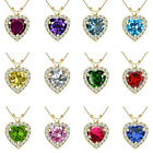 "6mm Heart Select Halo Birth Gem Stone Silver Pendant Necklace 18"" Chain-YG"
